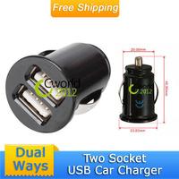 Free Shipping DC12V Dual Socket Cigarette Lighter Car Auto 2 USB Port Adapter Splitter 2 Sockets Charger For Mobile Phone