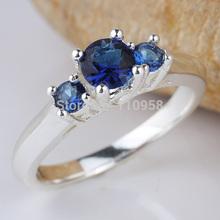 Women Three-stone Blue Sapphire Red Ruby Purple Amethyst White Diamonds Finger Silver 925 Ring WEDN R134 Sz 4.5 5 6 7 8.5 9.5