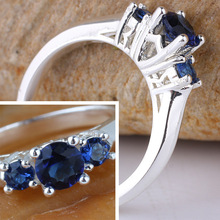 Women 3 stone Blue Sapphire Red Ruby Purple Amethyst Simulated Diamonds Finger Silver 925 Ring WEDN