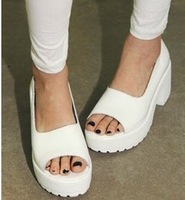 2014 new white platform sandals shoes thick heel open toe women high heels brand wedge shoes