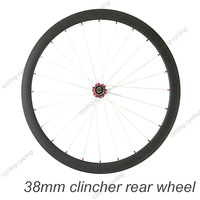 38mm clincher bike rear wheel 700c Carbon fiber road Racing bicycle wheel,single wheel