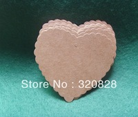 Wholesale DIY Kraft Paper Blank wave Heart Shape label Gift Tag Retro Hang tag (String  not Included) 300pcs/lot Free shipping