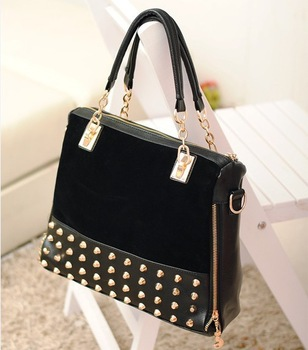 Best Quality Best Price New Stylish Fashion Shoulder  Rivet Studded Handbag B2402