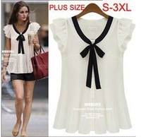 S-3XL summer fashion shirts  women's plus size chiffon shirt short-sleeve top women's blouse #D6120