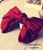 "Hot sell!!! retail 7"" large simple color shiny silk fabric hair bow hair clip barrette F80358 Freeshipping 19colors"