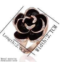 Women Jewelry Fashion Rose Flower Rings 18K Rose Gold Plated Rhinestone Austrian Crystal Ring Wholesale 18KGP R089