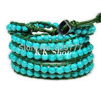 "QCL79 Turquoise stone bracelet 34-36"" creat bracelet leather vintage jewelry 5 wrap bracelet"