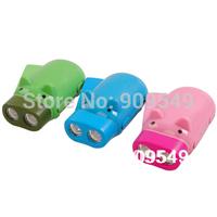 Free shipping wholesale fashion piggy-type manual push rechargeable flashlight, cartoon lights 2pcs/lot