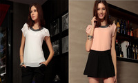 XS-4XL!! 2014 summer New women Loose plus size Two layer chiffon casual vintage Blouse/Beading neck,Pullover summer shirts