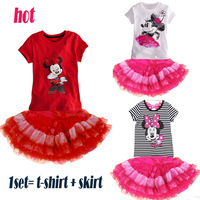Retail 2pcs 2014 children clothing summer kids stripe t-shirts + overalls = suits the sport suits for girls boys leisure sets