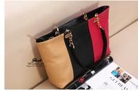 New Brand high quality Women Patchwork PU leather handbags,Fashion woman 3 color PU Shoulder bags B038A0W