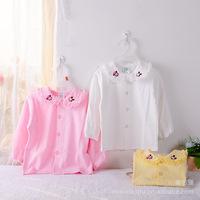 Wholesale hot infant kids cotton lace blouse shirt! baby girls  Mickey shirt! pink yellow white 80-110cm 4 pcs/lot