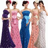 Plus size long XXXXL evening dress 2014 new arrival lace flower long zipper design fish tail party dresses