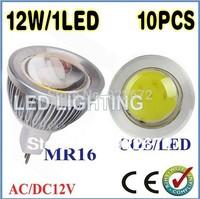 FREE SHIPPING10PCS 9W 12W 15W MR16 GU10 E27 COB LED Spot Light Spotlight Bulb Lamp High power lamp AC/DC12V 3 years Good Quality