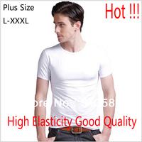 Free Delivery 2013 Plus Size High Elasticity Solid Color Cotton Round Neck Men T Shirt Size L/XL/XXL/XXXL # EW38