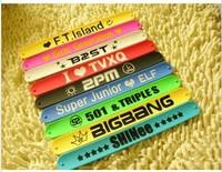 (free shipping CPAM)150 Pcs/lot  K - pop Korean stars popular silicone bracelet, TVXQ exobiology b1a4 bigbang sj 2 PM shinee ft