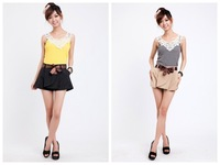 2014 New Women Shorts Pantskirt with Belt Culottes for Women's Shortts The Latest Two Colors Elastic Shorts