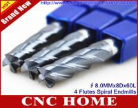 5PCS 4F*8.0MM*8D*60L Tungsten Carbide End Mills, Micro Grain Endmills, Coated Cutters, Spiral Bit Milling Tools, CNC Router Bits