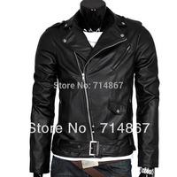 Fashion men's leather Personalized leather oblique zipper short paragraph modification Factory outlets  Men's leather jacket