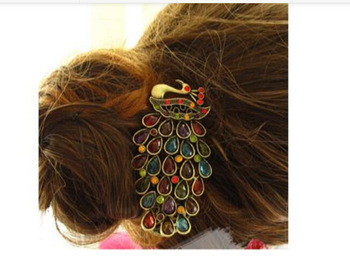 Min. order $9 (mix order) Luxury colorful peacock alloy barrettes hair accessory