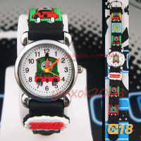 black 3D Cartoon  5pcs Thomas  Design Slap Watch For children Kids Students Quartz Wrist Watches,