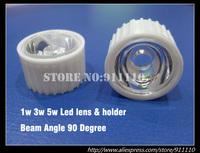 10pcs/lot 90 Degree Beam Angle Led Lens + White Holder for 1W, 3W 5W High Power Led