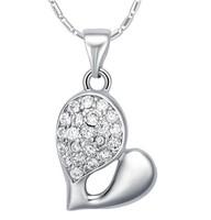 (Mini order 10$) Bijoux Fashion 925 Silver Heart Necklaces Chain With Rhinestone Pendant Free Shipping