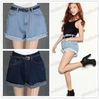 Free Ship Women High Waisted Oversize Crimping Boyfriend Jeans Shorts Pants 26,27,28,29,30