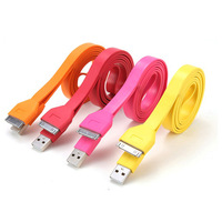 50pcs/lot Noodle USB Data Cable Colorful Flat Sync Cable Charger for iphone4 factory cheap price