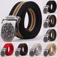 50% OFF Hot sale Canvas Dragon totem Metal Buckle Belt 11 colors mens ethnic style casual Waistband 110cm C414