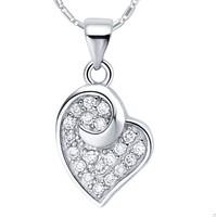 (Mini order 10$) Unique Heart Pendant Chain Necklaces Silver 925 Rhinestone Luxury Jewelry Free Shipping