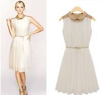 Hot sale 2013 fashion vintage sweet elegant peterpan collar sleeveless chiffon pleated dress women  Free shipping #C0174