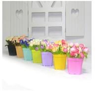 N - candy color plastic small flower pot artificial flower green plants flowers vase flower decoration supplies