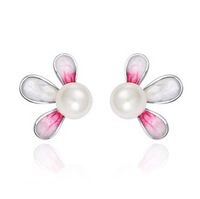 CDE Wholesale 2013 Flower Pearl Earring Stud Pink and Green Earring E0234