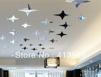 Home decoration 3D acrylic star crystal ceiling tv romantic wall stickers luster sticker