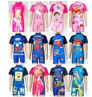 Free Shipping Children boy girl's one piece swimwear diving rash guard surfing suits cartoon high-necked professional suit 4-12T