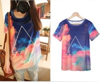 2013 Harajuk galaxy T shirts long design triangle galaxy tops loose short-sleeve couples shirts and lovers FreeShipping