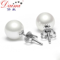 Daimi     Retail 925 Sterling Silver 9-10mm Round Pearl earring studs, Fashion jewelry woman,Free Shipping