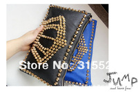 2013 new fashion rivet crown pattern handbag,day clutch for women pu soft leather