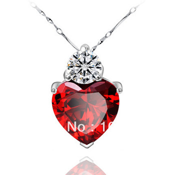 925 sterling silver red heart pendants  love necklaces newest jewelry high quality free shipping