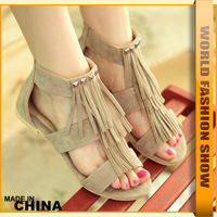 Big Size 34- 43 Fashion Rome Stylish Women Summer Rivets Tassel Shoes Ladies Dress Brand flats SA537 Hot Sale Sandals
