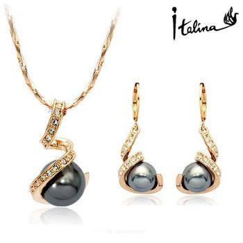 Italina Rigant Elegant 18K Rose Gold plated Spiral Jewelry Set With Swarovski Crystal ...