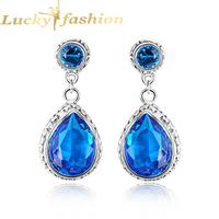 Fashion latest style Indian earrings for women brincos femnininas antique silver plated dangle blue topaz ear cuff