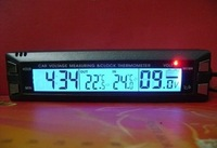 E30 Multifunctional 4 in 1 Car Digital Clock, In/Out Thermometer, Voltage Monitor with stand and magic tape