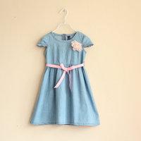 good quality girls denim dress with flower and sash kids dresses girls fashion kids clothing 3T-10T  free shipping