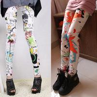 Free shipping New 2014 Fashion Brand Womens Seamless Flower Print Retro Package Hip Ink Fraffiti Pants Fitness Leggings Hot sale