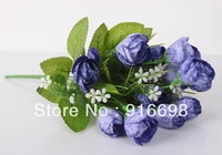 Free Shipping  Retail (6pcs/lot) 15heads 13inch Artificial silk sonwflake Rose Bud Flower Bouquet  for Wedding home Decoration