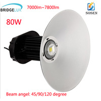DHL free shipping MEANWELL Driver bridgelux 45mil 80w high bay lighting high bay fitting LED high bay light fixture LED highbay