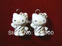 10 pieces Hello Kitty with Zebra Pendant Charm Figurine Cute Fashion DIY Accessories ALK699 Wholesale