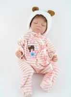 "22"" Sleeping newborn girl soft silicone vinyl sleeping reborn baby doll handmade lifelike baby toys"